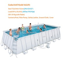 "56474 Bestway 732x366x132cm/24'x12'x52"" Power Steel Rectangular Frame Pool Set/Above Ground Swimming Pool for Adults/Kids-s"