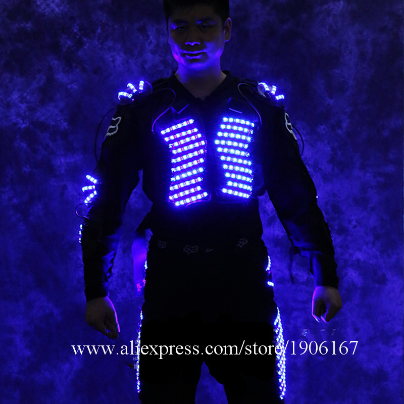 Newest Led Luminous Stilt Robot Performance Costume With LED Helmet Illuminated LED Clothing Growing Light Kryoman Robot Suit0