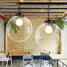Nordic American country bedroom creative brief modern restaurant glass ball pendant lamps(China)