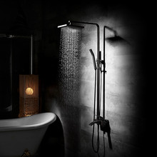 Fashion Style Black Shower Faucet Square Top Spray Cold and Hot Water Mixer Single Handle Adjustable Rain Shower Slide Bar 9235R