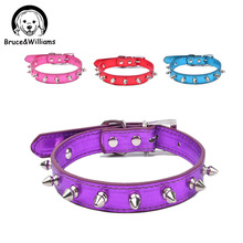 Bruce&Williams Cool Sharp Spiked Dog Collar Bright PU Leather Bling Dog Collar Adjustable Collars For Small Medium Puppy DC0302