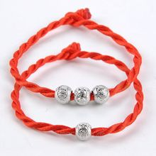 Fashion Red Color String Together The Happiness Silver Plated Rope Chain Charm Bracelet Jewelry Top Quality