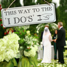 "BHomify 1pcs Wedding Decoration ""This Way To The I Dos"" Fun Express Wooden Wedding Yard Sign Arrow Direction Wedding supplies(China)"