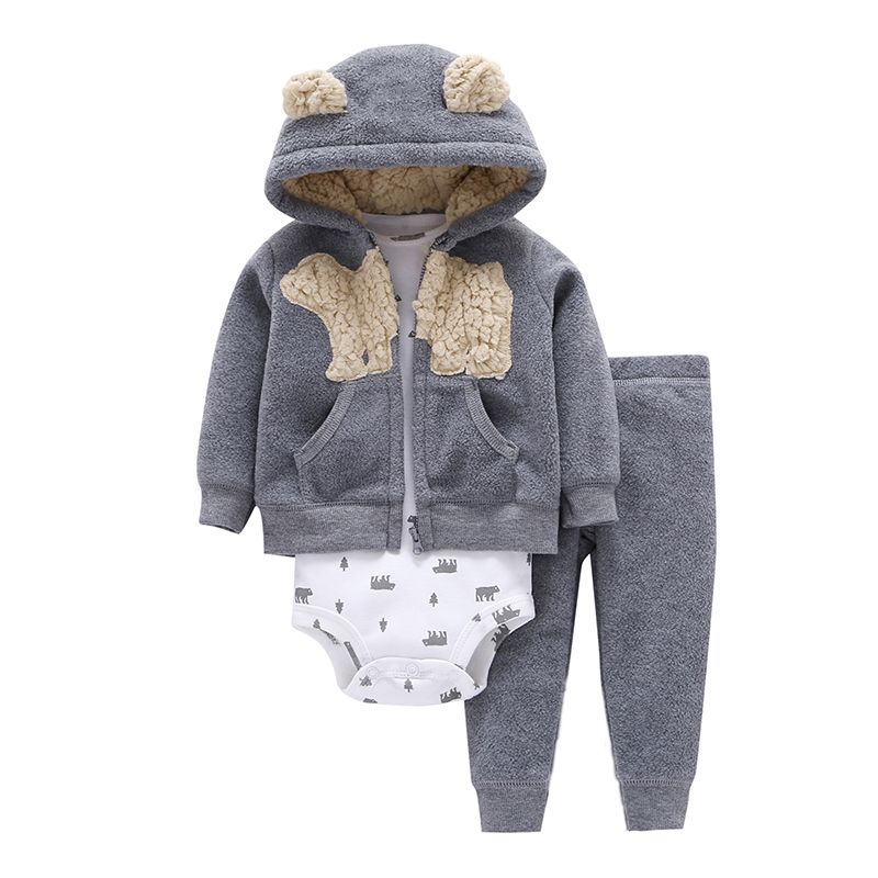 cartoon bear baby boy girl clothes fleece long sleeve hooded coat+bodysuit+pant for newborn set 2019 outfit infant clothing suit
