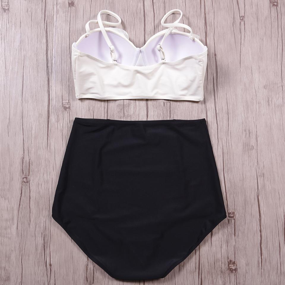 TQSKK 19 New Bikinis Women Swimsuit High Waist Bathing Suit Plus Size Swimwear Push Up Bikini Set Vintage Retro Beach Wear XXL 8
