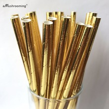 25 Metallic Gold Paper Straws Gold Solid Color Paper Straws for champagne straws bubbly girlfriend gift glitter gold metallic
