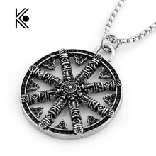 Amulet Rune Norse Viking Odin's Symbol Of Runic Vikings Pendant Alloy Necklace Runes Vegvisir Compass Necklace High Quality Gift