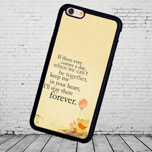 Winnie Pooh lovely Quotes cell Printed Soft Rubber Phone Case Coque For iPhone 6 6S Plus 7 7 Plus 5 5S 5C SE 4 4S