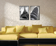 2Pieces no frame free shipping on Canvas Print Eiffel Tower Leaning Tower of Pisa lighting street car Old buildings Times Square