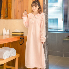 Autumn and winter cute coral velvet thickening gown women long paragraph flannel pajamas ladies bathrobes dancers pajamas(China)