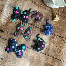 CJ8 2pcs/set cute Cartoon Animal Elephant Hair Clip bowknot Cave denim hairpins Ribbon full folder hairgrips Wave point headwear