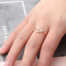 2PCs/Set Antique Rose Gold Sliver Midi Knuckle Ring For Women Men Metal Swirl Wave Pattern Ocean Wire Ring Simple Jewelry(China)