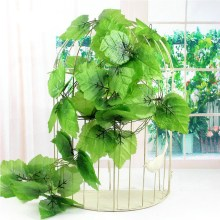 12pcs 2.4m Green Artificial Ivy Leaf Garland Plants Vine Fake Foliage Flowers Plastic Artificial Flower Rattan Evergreen Cirrus