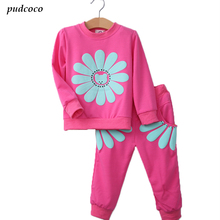 T122 2017 spring autumn children girl clothing set baby girls sports sunflower costume kids clothing set suit 5 color