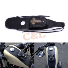Black PU Leather 4.5 Gallons Tank Cap Cover Panel Bag For Harley Sportster XL883 1200 Motorbike