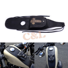 Black PU Leather 4.5 Gallons Tank Cap Cover Panel Bag For Harley Sportster XL883 1200 Motorbike(China)