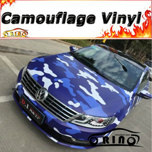 Blue White Camo Vinyl Car Wrap Sticker Snow Camouflage Car Wrapping Film Motorcycle Truck Vehicle Covering Matte/Glossy Finish