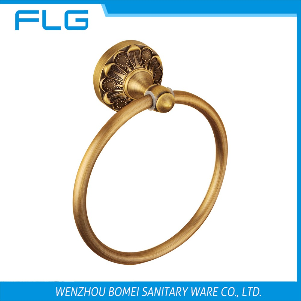 Free Shipping FLG100201 Towel Ring ,Antique Brass Flower Art Curved Base Classical Retro Style Bathroom Accessories<br><br>Aliexpress