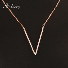 SINLEERY Fashion Tiny Crystal V Letter Pendant Necklace White/ Rose Gold Color Short Chain Women Jewelry 2017 XL119 SSD