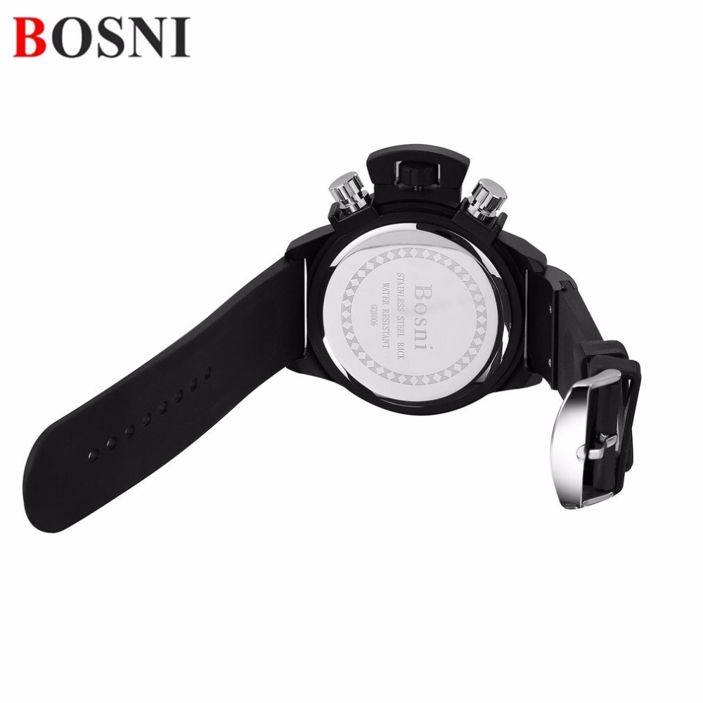 BOSNI Mens Sports Outdoor Watches Three Luminous Hardl Dial New Style Racing Causal Simple Stainless Steel Case Male Saat<br>