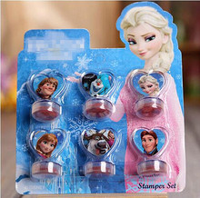 6pc/set 100% quality Elsa Anna cartoon stamp set gift for kids scrapbooking DIY decoration