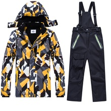 For -30 Degree Children Outerwear Warm Coat Sporty Ski Suit Kids Clothes Set Waterproof Windproof Boys Jackets For 4-14T