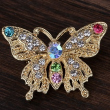 1 pcs Lady Girl 's Butterfly Style Brooch Crystal Rhinestone Brooch Pin Women Party Brooch Jewelry Collar Pin Dress Accseeories