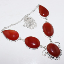 Carnelian   Necklace  Silver Overlay over Copper , 51.5 cm, N0892
