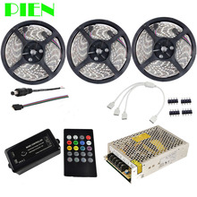 15m Music led strip Waterproof 5050 Tape Ruban 12V Flexible + Music Remote controller + Power adapter Kit Free shipping