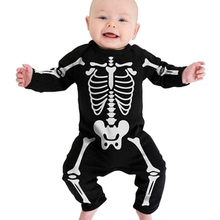 Kids Romper Baby Halloween Boys Girls Warm Infant Cool Human Skeleton Long Sheeve Jumpsuit Cotton Festival Costume