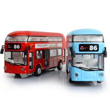 Hot 1:50 scale London Double Decker city air-conditioned bus diecast metal model pull back alloy toys with light & sound for kid
