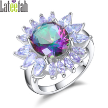 Lateefah Vintage Colorful Rainbow Stone Rings for Women Big Oval Stone Purple Marquise Cubic Zirconia Sunflower Ring Anel Bague