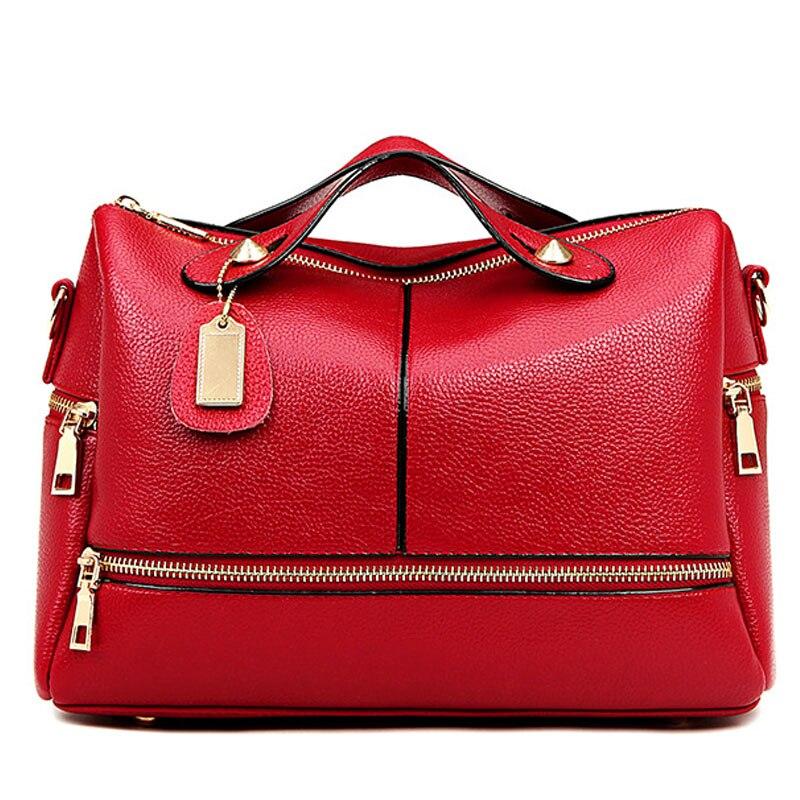 2017 Women Pu leather Tote  Boston Handbag Solid Red Crossbody Bag European And American Style Lady Bolsa Feminina XA1707C<br><br>Aliexpress