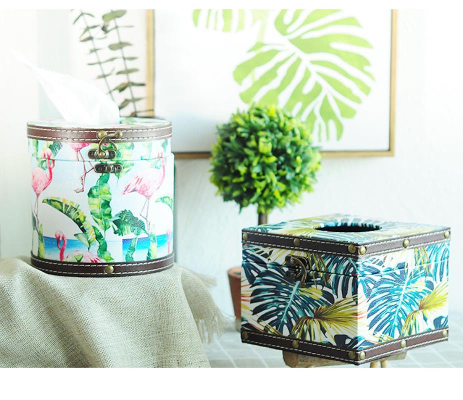 Nordic style small fresh leather tissue box living room napkin storage box tray creative home car