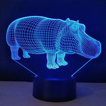 Stereo 3D Night Lamp Hippo Household Lights engraved acrylic Lamparas Led Table Lamps Lampara Infantil Children Room Lighting(China)