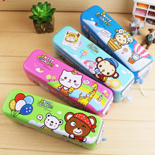 2016 children's cartoon stationery strange new three-tier bus cartoon cute stationery latest car pencil case Students Children