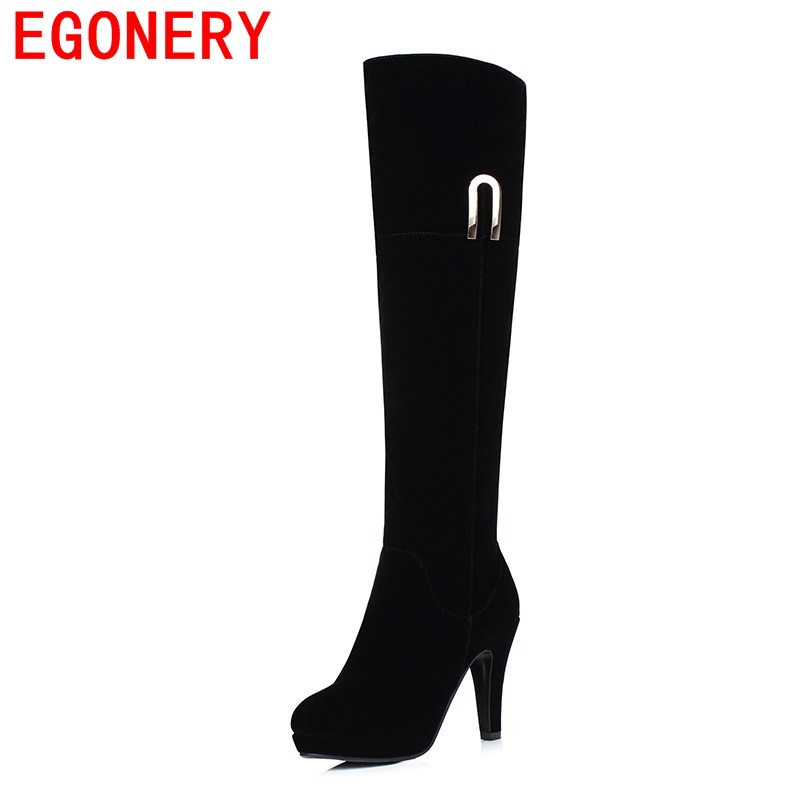 EGONERY shoes 2017 riding equestrian thigh high boots casual platform thin high heels knee high boots sapato feminino lady shoes<br>