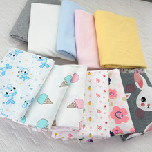 Buulqo Baby cotton knitted fabric stretchy thin Printed cartoon jersey fabric by half meter DIY baby clothing fabric 50x170cm(China)