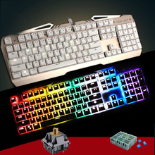 TEAMWOLF VODRAY Mechanical Keyboard 104 MX CHERRY black blue brown switches Backlight Metal Panels Gaming Keyboard For Laptop PC(China)