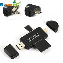 Factory price USB 2.0 3 in 1 Multi-function Type-c Card Reader SD Card TF Triplet OTG Smart Card Reader Adapter Cable New Design