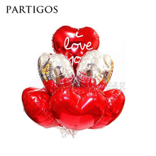 6pcs/lot 18inch i love you heart shaped aluminum inflatable balloon with latex balloons Valentines day Wedding decoration ball