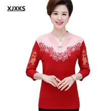XJXKS Middle-aged Women Summer Autumn Transparent Sleeve T-shirt Female Loose Plus Size Mother Clothing Basic Print Knitted Tops(China)