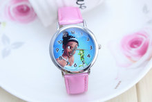 Free Shipping PINK Tinkerbell Cartoon leather Wrist Watch Watches For Kids Children Girls Boy(China)