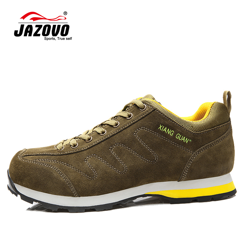 2017 JAZOVO Running Shoes Genuine Leather Cow Shoes Man Sport Breathable Jogging Walking Trainers Chaussures Hombre Femme 39-44<br><br>Aliexpress