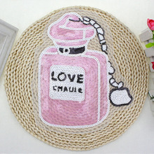 BT054 5 Pcs/Lot New Arrival French Wholesale Fashion DIY Pink Perfume Bottle patch Sew on Cloth Free Shipping & Factory Price