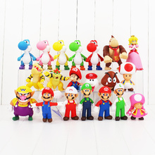 7-14cm Super Mario Figure Toy Luigi Yoshi Toad Mushroom Goomba Koopa Bowser Princess Peach Donkey Kong Toadette Wario Model Doll(China)