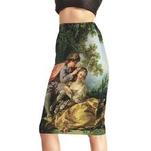 S To 4XL New Arrival Women Sexy High Waist Midi Skirts Tennis Bowling Skirts Slim Elastic Female Party Apparel Oil Painting
