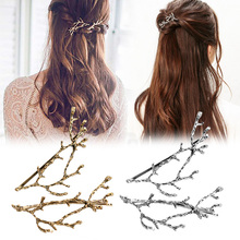LNRRABC Gift Metal Promotioanl Hairpins Silvery Hair Accessories Hair Clips Wholesale Golden Fashion 2PCS/Pair Tree Branches(China)