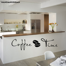 Coffee time English cafe kitchen wall motto removable vinyl stickers Home Furnishing decorative painting wall stickers