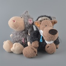2Pcs 25cm NICI Gray Sheeps Black Gray Wolf Stuffed Plush Toy, Baby Kids Doll Gift Free Shipping